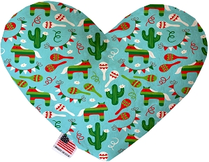 Turquoise Fiesta 8 inch Heart Dog Toy